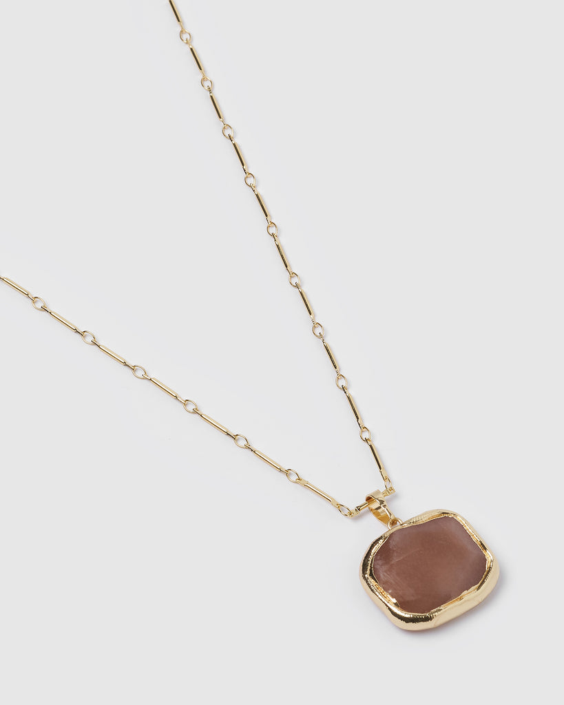 Miz Casa & Co Jewel Charm Necklace Smokey Quartz Gold