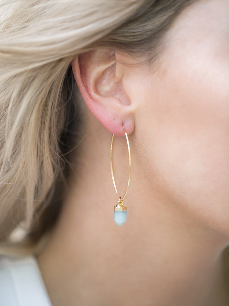 Miz Casa & Co Wanderer Earrings Gold Pale Green
