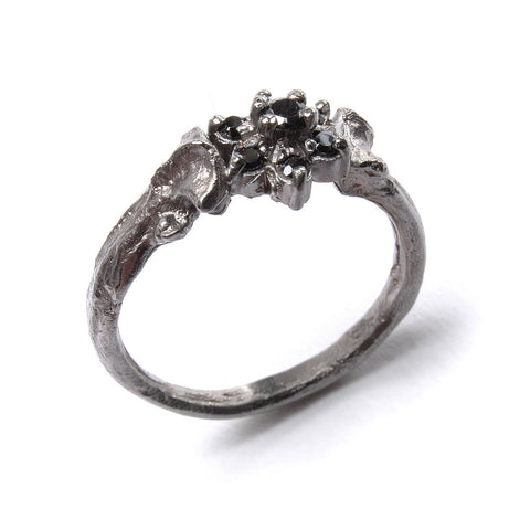 Bone Ring Black Rose