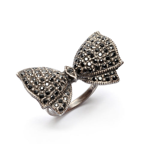 Bow Ring Diamanté Black