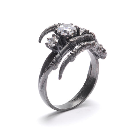 Claw Ring 3 Stones Black Rhodium