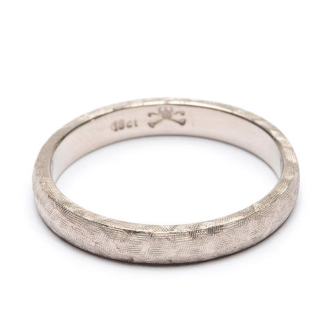 Crosshatch Wedder 3mm White Gold