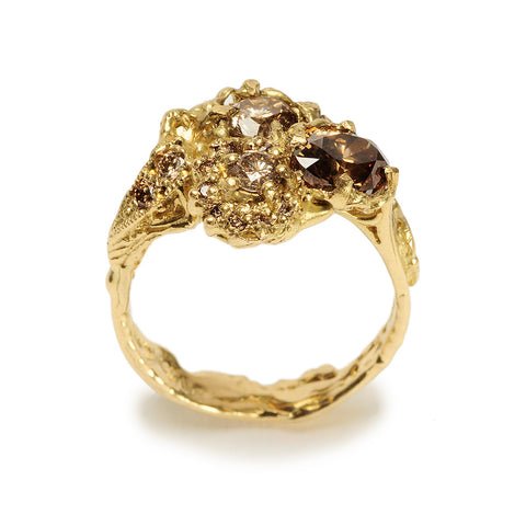 Triple Cluster Ring Cognac