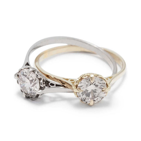 Double Victorian Solitaire Ring Diamond