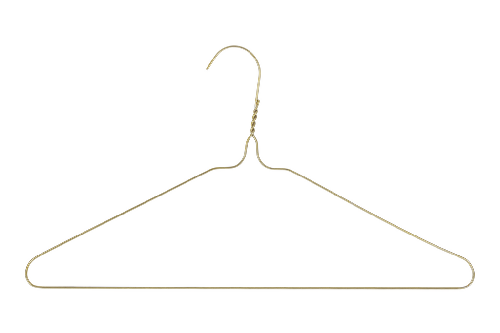 Wire clothes hanger against a white background