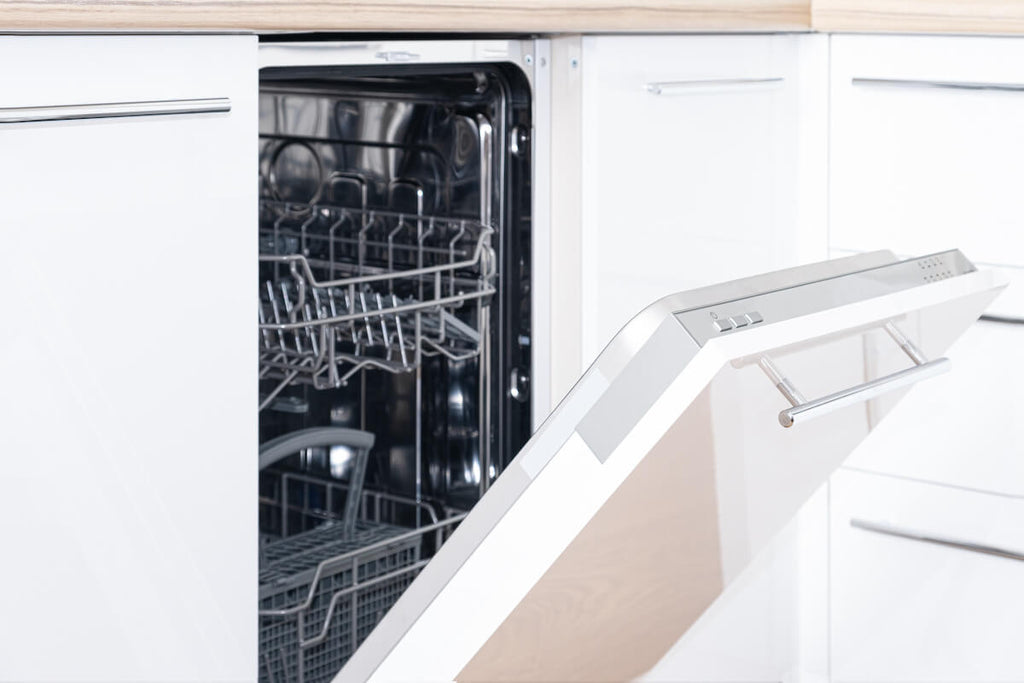 Kitchen cleaning tips: open dishwasher