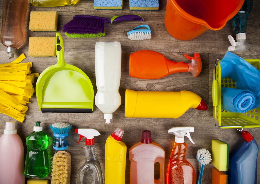 flatlay of various cleaning supplies