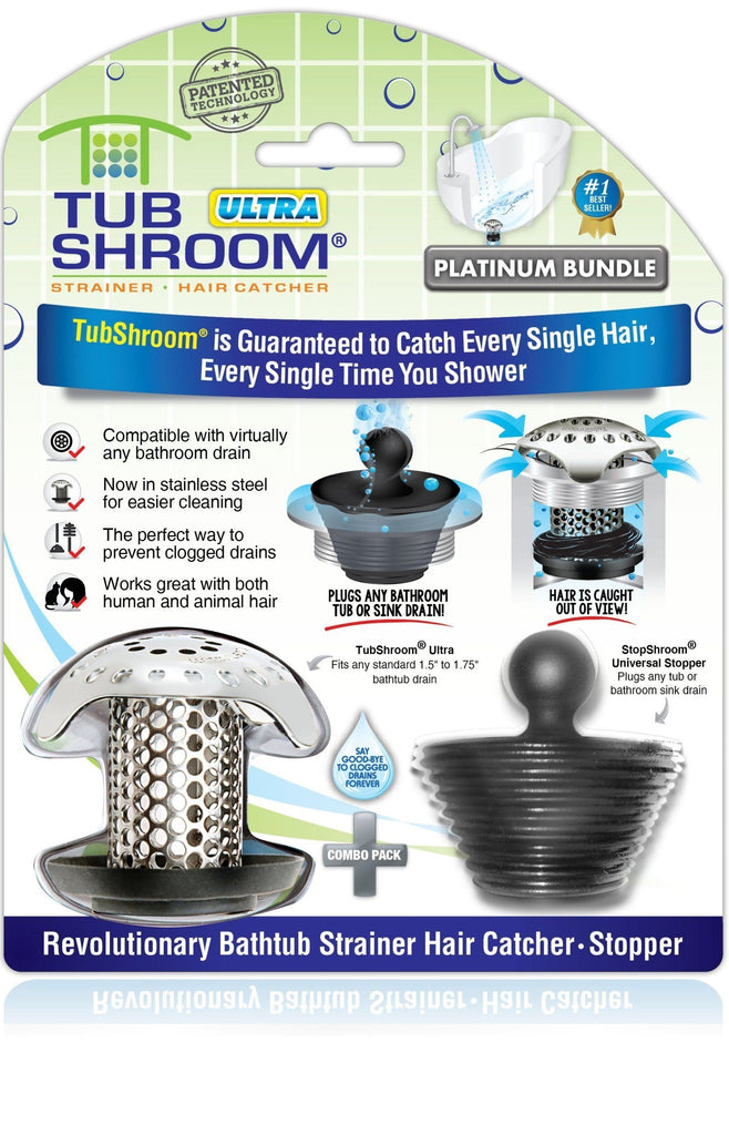 TubShroom® Ultra (Stainless) Plus StopShroom® Plug Combo for Tub Drains Drain Protector Juka Innovations Corporation