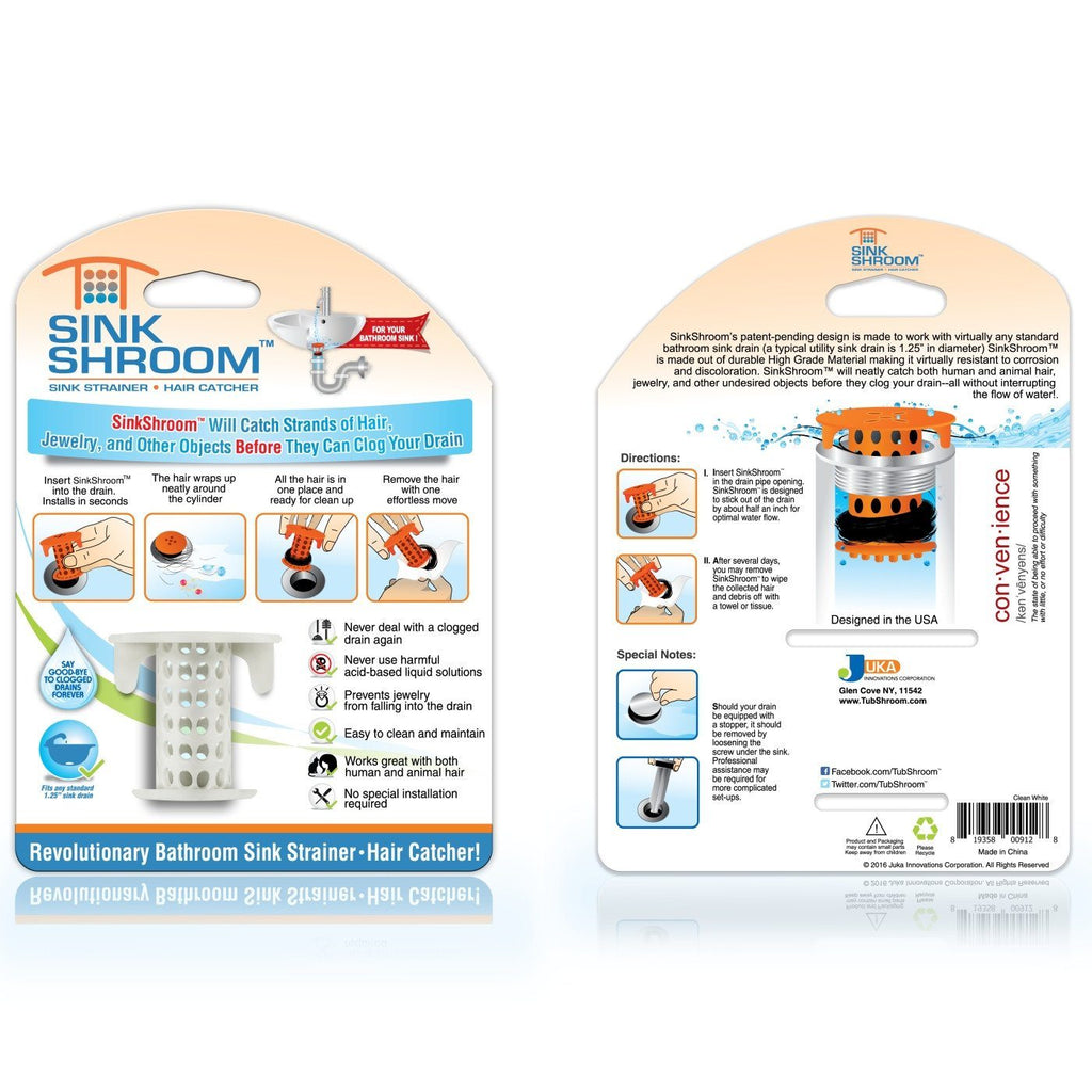 SinkShroom® (White) The Hair Catcher That Prevents Clogged ...