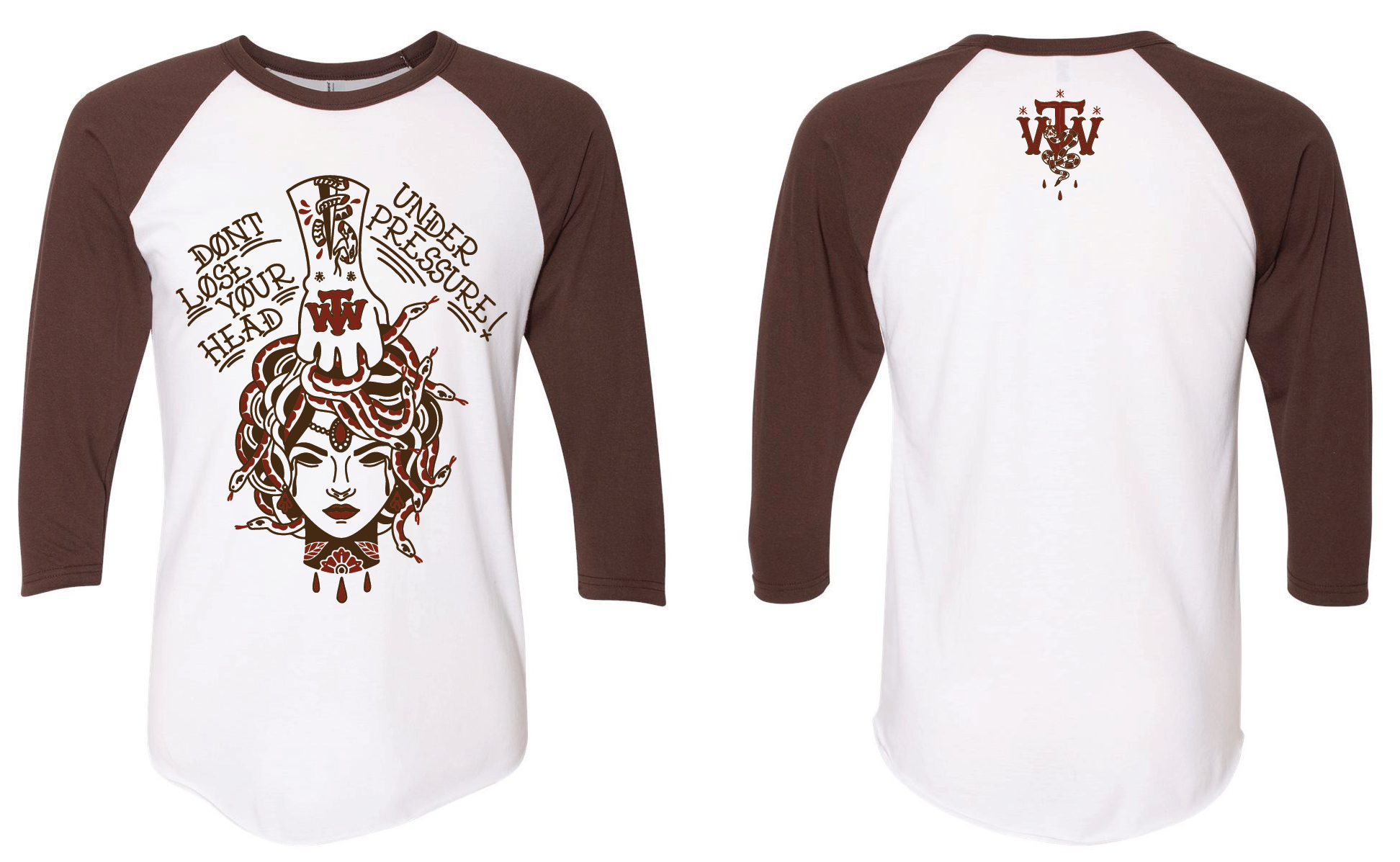 Medusa Raglan Baseball Tee (Brown)