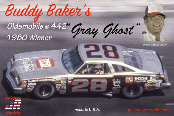"1/25 SALVINOS JR MODELS BUDDY BAKERS OLDSMOBILE 442 ""GRAY GHOST"" BBO1980D"