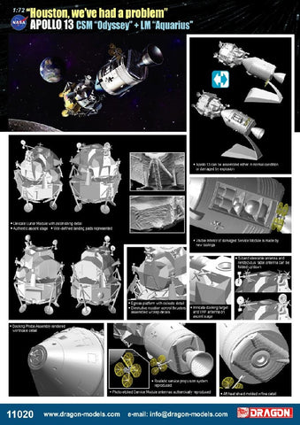 "1/72 DRAGON ""HOUSTON WE'VE HAD A PROBLEM"" APOLLO 13 CSM ""ODESSEY"" + LM ""AQUARIOUS"" DR11020"