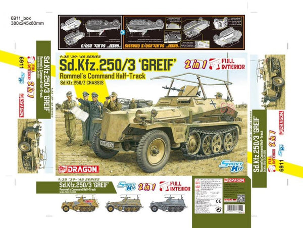 "1/35 DRAGON SD.KFZ 250/3 ""GREIF"" . ROMMEL'S COMMAND HALF TRACK DR6911"