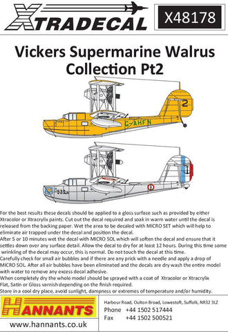 1/48 XTRADECAL VICKERS SUPERMARINE WALRUS COLLECTION PT2