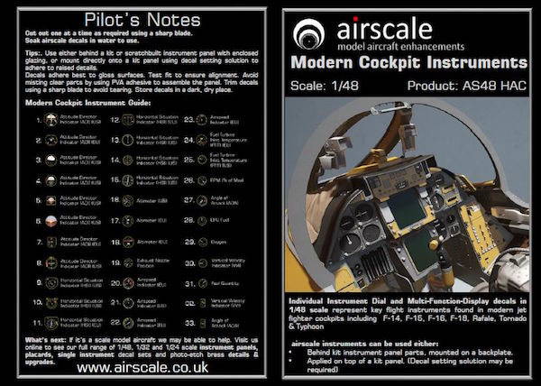 1/48 AIRSCALE MODERN COCKPIT INSTRUMENTS DECALS