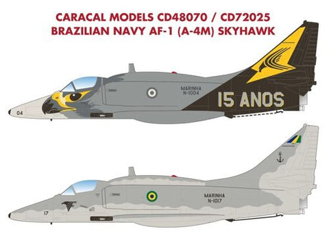 "1/48 CARACAL MODELS BRAZILIAN NAVY AF-1 (A-4M) ""15 YEARS"" SPECIAL SCHEME DECALS"