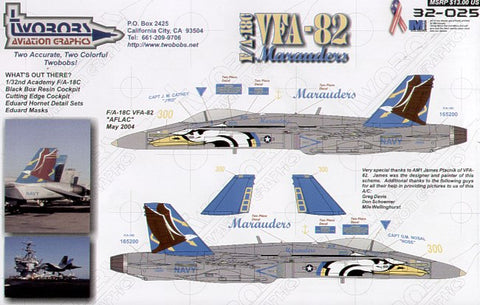 1/32 TWO BOBS F/A-18C VFA-82 MARAUDERS DECAL SET 32-025