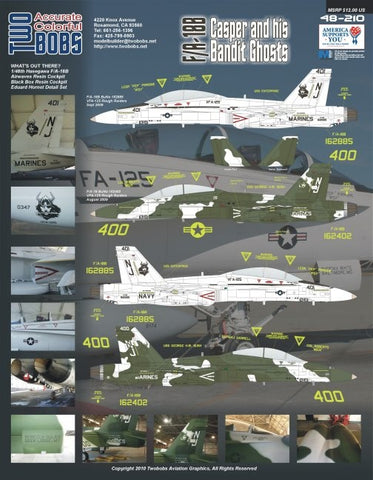 1/48 TWO BOBS F/A-18B CASPER AND HIS BANDIT GHOSTS DECAL SET TB48210