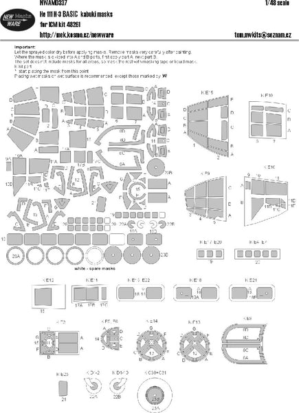 1/48 NEW WARE BASIC KABUKI MASK TO SUIT ICM HE 111 H-3 KIT48261   NWAM0337