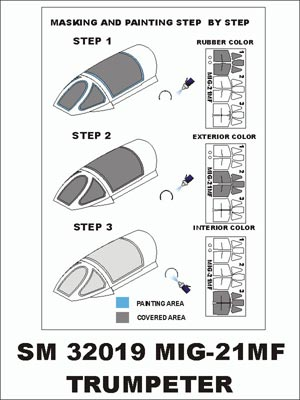 1/32 MONTEX MINI MASK INTERIOR/EXTERIOR SUIT TRUMPETER MIG-21MF SM32019