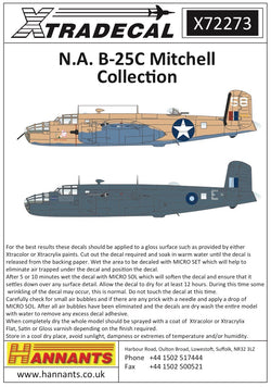 1/72 XTRADECAL NORTH AMERICAN B-25C MITCHELL COLLECTION X72273