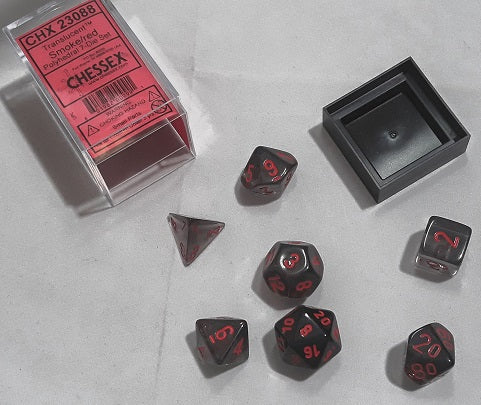 CHESSEX DICE SET: SMOKE/RED TRANSLUCENT POLYHEDRAL 7 DIE SET CHX23088