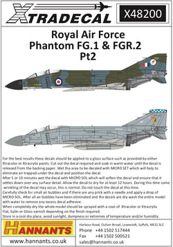 1/48 XTRADECAL ROYAL AIR FORCE PHANTOM FG.1 & FGR.2 PT2 X48200