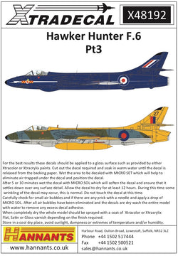 1/48 XTRADECAL HAWKER HUNTER F.6 PT3 DECAL SET X48192