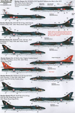 1/48 XTRADECAL HAWKER HUNTER F.6/FGA.9 DECAL SET X48105