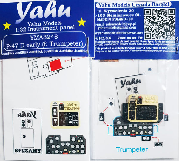 1/32 yahu p-47d instrument panel suit trumpeter kit