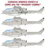 "1/48 CARACAL DECALS USMC AH-1W ""WHISKEY COBRA"" DECAL SET CD48116"
