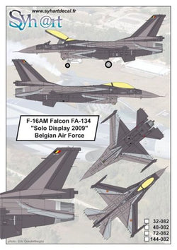 "1/48 SYHART F-16AM FALCON ""SOLO DISPLAY 2009"" BELGIAN AIR FORCE SY48-082"