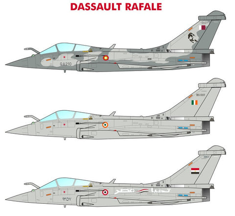 1/72 CARACAL DECALS DASSAULT RAFALE DECALS FOR EGYPT, INDIA AND QATAR CD72095