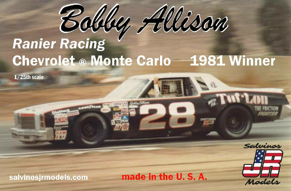 1/25 SALVINOS JR MODELS BOBBY ALLISONS RANIER RACING CHEVROLET MONTE CARLO 1981 WINNER RRCMC1981BA