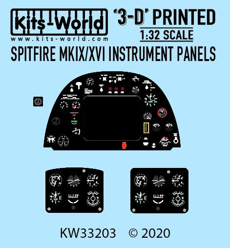 1/32 KITS WORLD 3D PRINTED SPITFIRE MK. IX/XVI INSTRUMENT PANELS KW3D33203