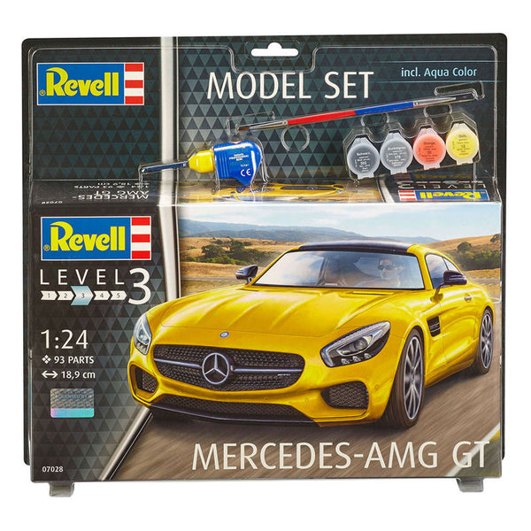 1/24 REVELL MERCEDES AMG GT MODEL SET W/PAINT,GLUE AND BRUSH