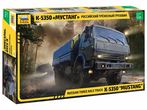 "1/35 ZVEZDA K-5350 ""MUSTANG"" RUSSIAN THREE AXLE TRUCK ZV3697"