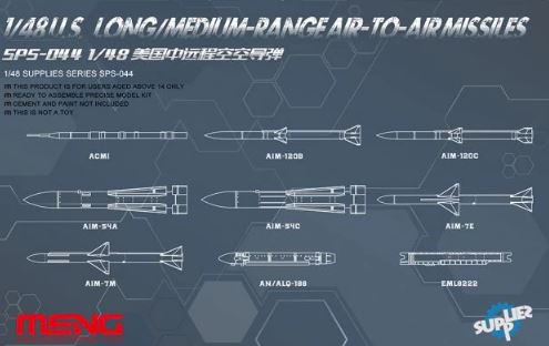 1/48 MENG US LONG/MEDIUM RANGE AIR TO AIR MISSILES SET