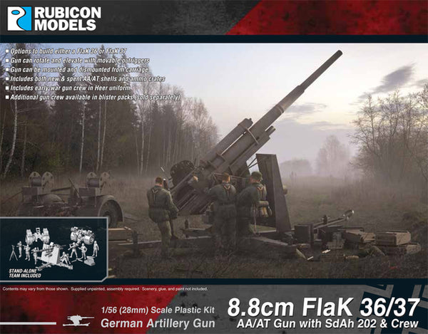 RUBICON 1/56 8.8CM FLAK 36/37 WITH SDAH & CREW RU28G31