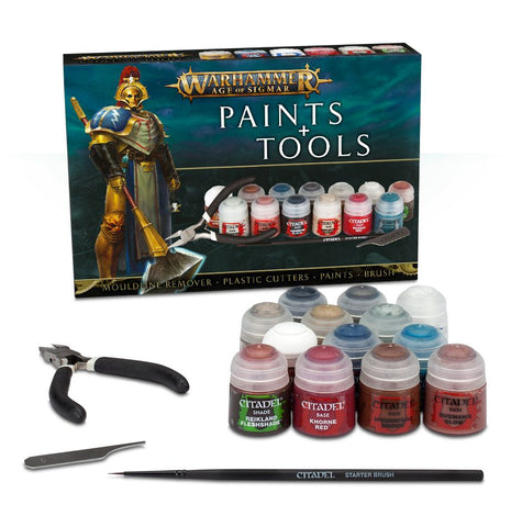 WARHAMMER AGE OF SIGMAR : PAINTS AND TOOLS SET