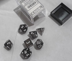 CHESSEX DICE SET: SMOKE/WHITE TRANSLUCENT POLYHEDRAL 7 DIE SET CHX23078