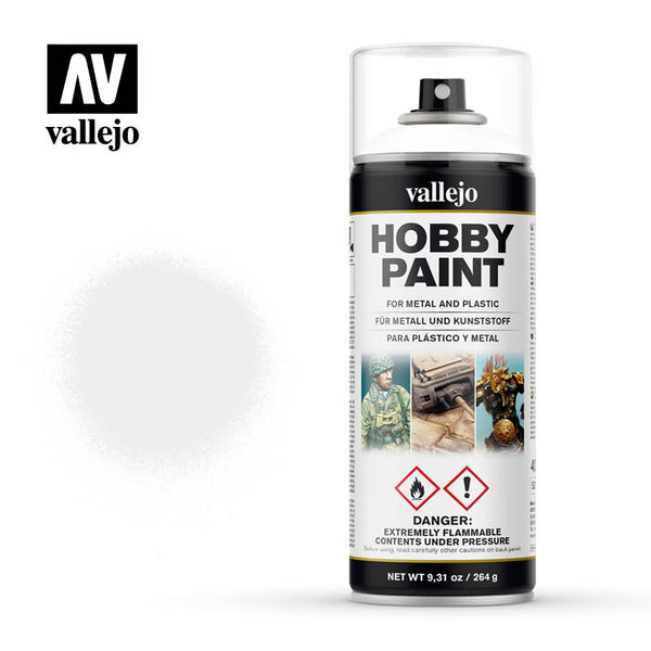 VALLEJO AEROSOL PAINT WHITE PRIMER HOBBY SPRAY PAINT 400ML AV28010