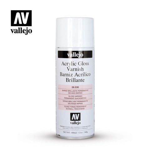 VALLEJO AEROSOL PAINT GLOSS VARNISH HOBBY SPRAY PAINT 400ML AV28530
