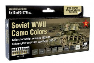 VALLEJO MODEL AIRSOVIET WW2 AFV CAMO COLOURS AV71188