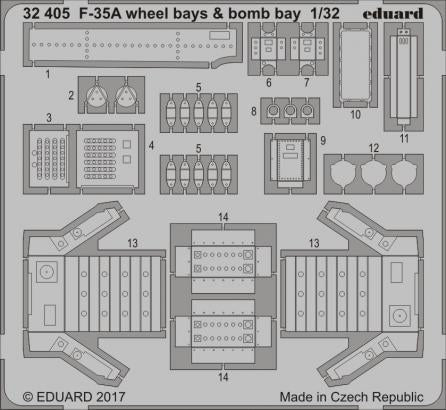 1/32 F-35A WHEEL AND BOMB BAYS ETCH SET FOR ITALERI KIT