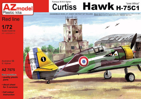 "1/72 AZ MODEL CURTISS HAWK H-75C1 ""OVER AFRICA"" AZM7575"