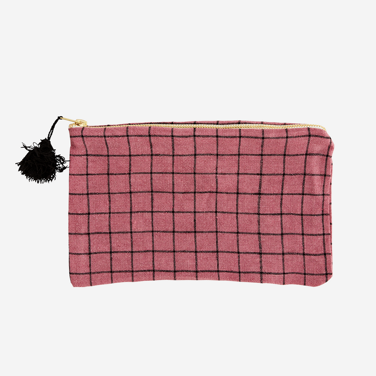 CHECKED LINEN PURSE W/ TASSEL