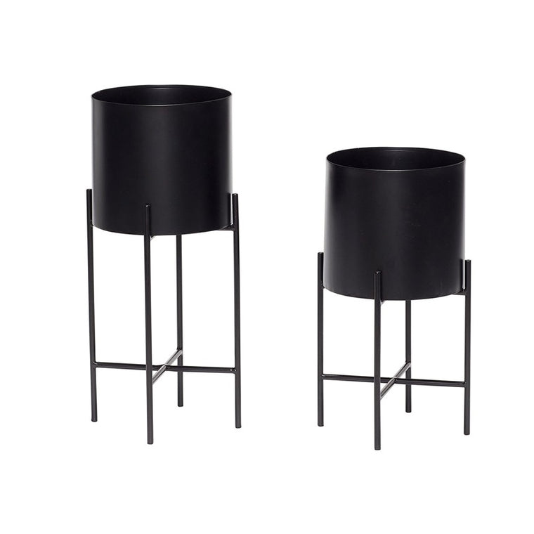 POT WITH BLACK METAL LEGS (SET OF 2)