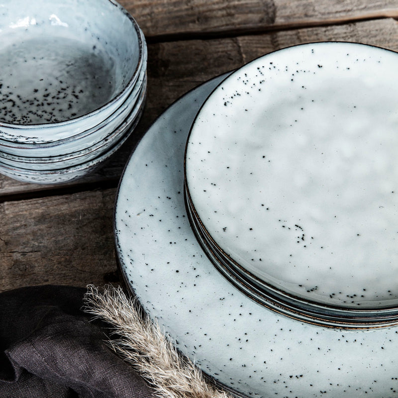 CAKE PLATE RUSTIC GREY/BLUE
