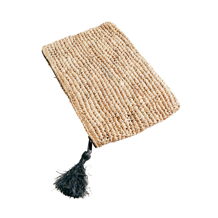 RAFFIA CLUTCH w/ BLACK ZIPPER ­ ­